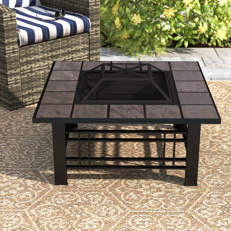 Sol 72 Outdoor Adreanna Steel Wood Burning Fire Pit Table