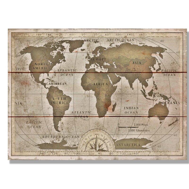Daydream Hq Old World Map Graphic Art Print On Wood Wayfair