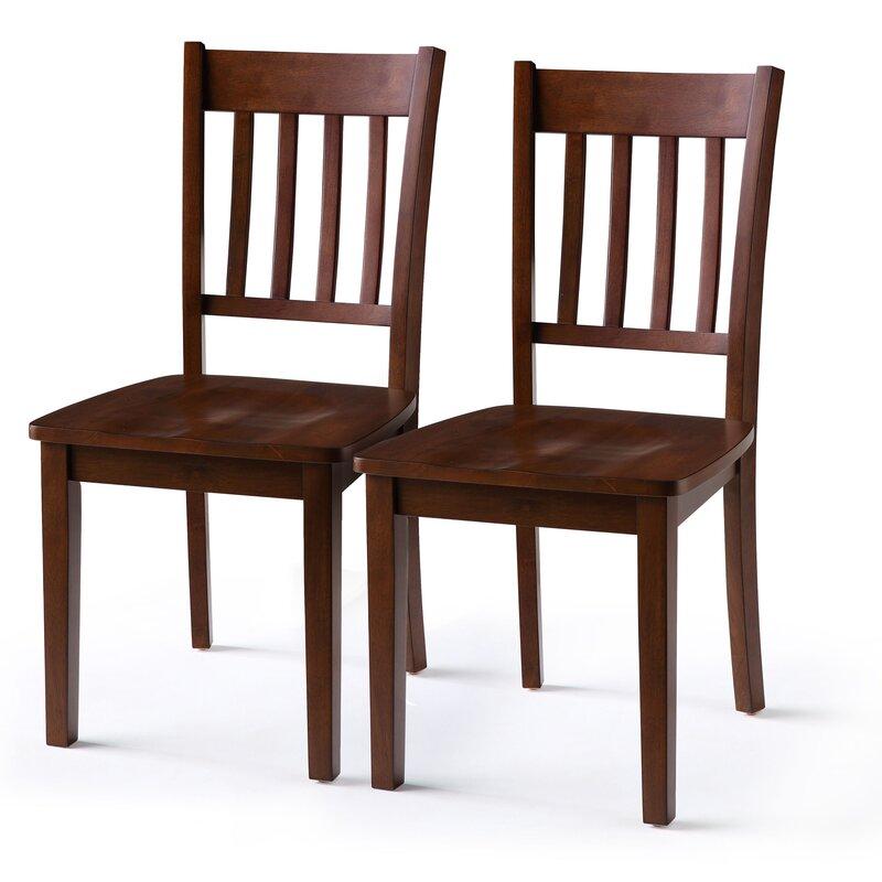 Red Barrel Studio Helmi Slat Back Side Chair in Walnut Brown (Set of 2)