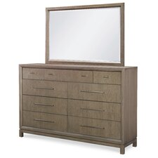 Highline by Rachael Ray Home 9 Drawer Double Dresser with Mirror by Rachael Ray Home by Legacy Classic
