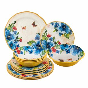 Garris Butterfly 12 Piece Melamine Dinnerware Set Service for 4