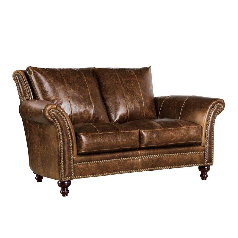 Canora Grey De Foix 69 Wide Genuine Leather Flared Arm Loveseat Wayfair