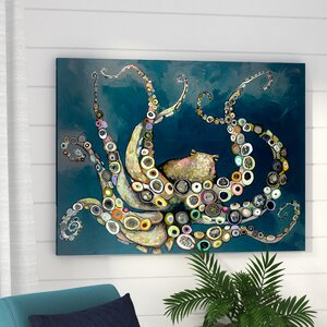 'Octopus in the Navy Blue Sea' Framed on Canvas