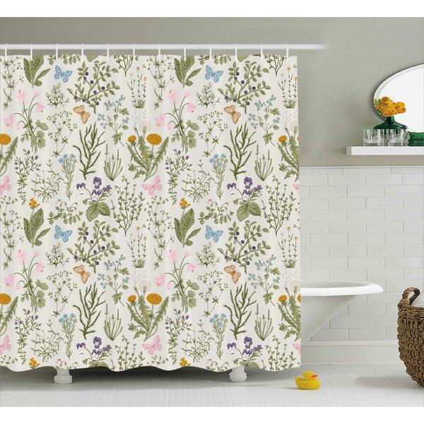 August Grove Menthe Herbs Flowers Shower Curtain & Reviews | Wayfair