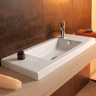 Ceramica Tecla By Nameeks Serie 35 Ceramic Rectangular Drop In Bathroom Sink With Overflow