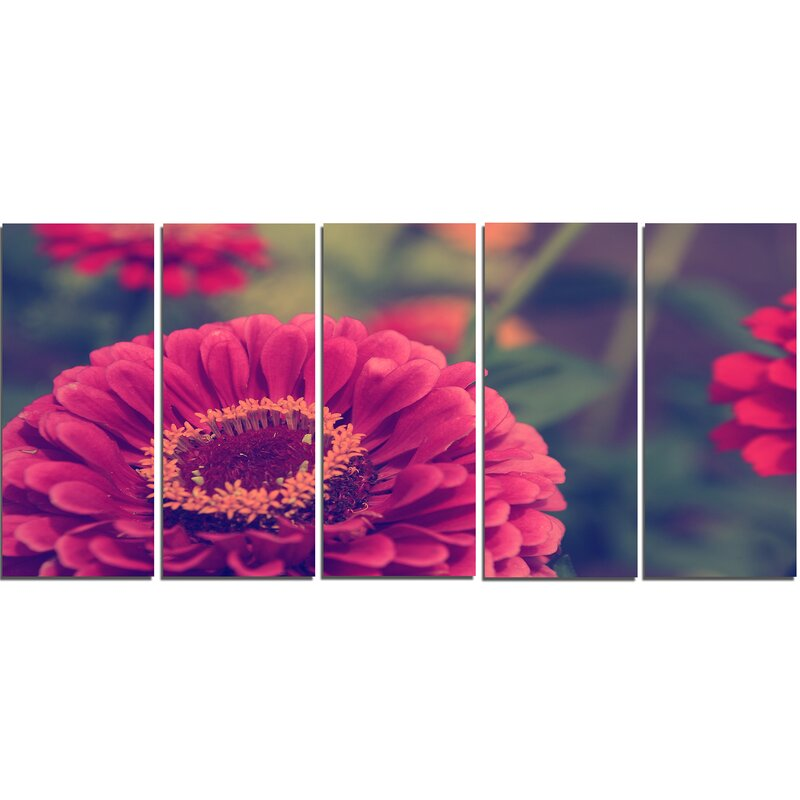 Designart Vintage Photo Of Cute Red Flowers 5 Piece Graphic Art On Wrapped Canvas Set Wayfair