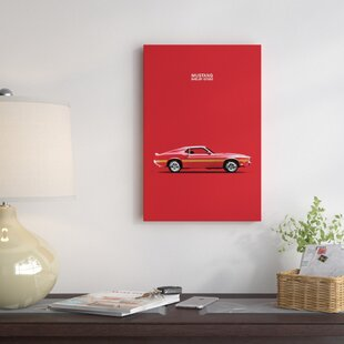 '1969 Ford Mustang Shelby GT350' Graphic Art Print on Canvas in Red By East Urban Home
