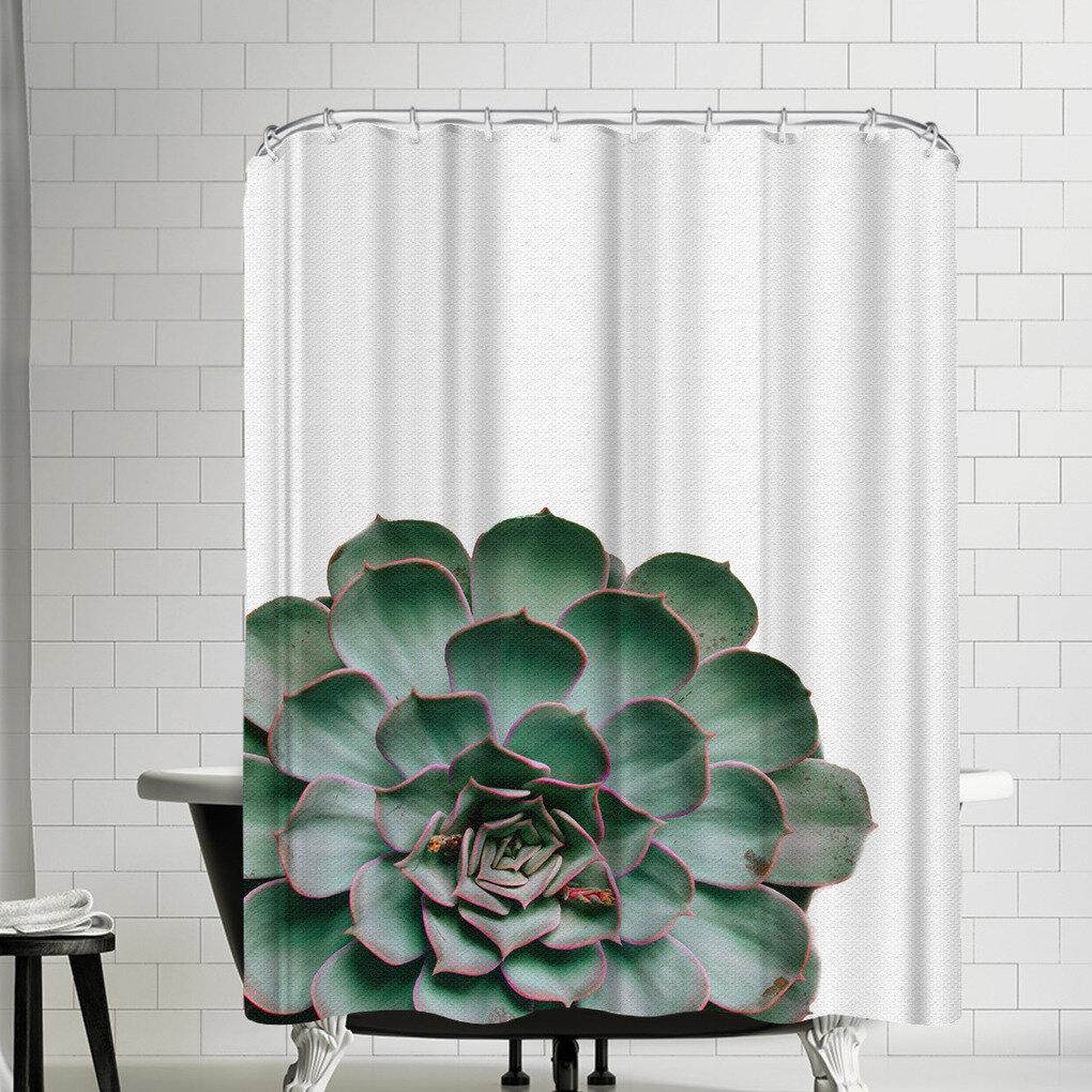 East Urban Home Nauda Succulent Plant Shower Curtain Wayfair