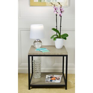 Brushed Gray Bamboo End Table
