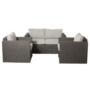 Brayden Studio Maura 3 Piece Lounge Sofa Set with Cushions