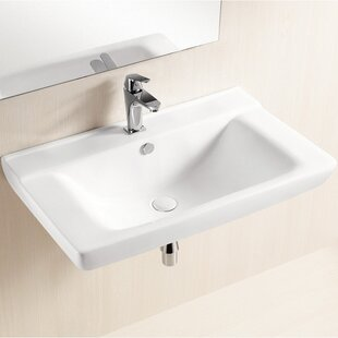 Purchase Ceramic 32 Wall Mount Bathroom Sink with Overflow By Caracalla