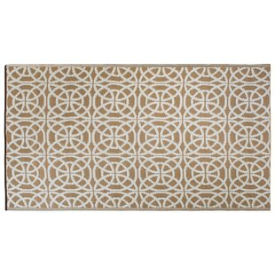 Zahir Infinity Circle Taupe/White Indoor/Outdoor Area Rug