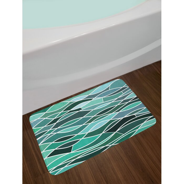 Ambesonne Seafoam Bath Mat By Stained Glass Pattern With Wavy Lines And Mosaic Abstract Geometric Composition Plush Bathroom Decor Mat With Non Slip