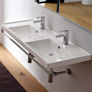 ML Ceramic Rectangular Wall Mount Bathroom Sink With Overflow