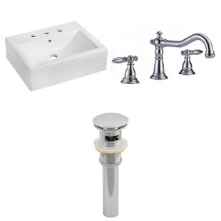 Savings Ceramic 20 Wall-Mount Bathroom Sink with Faucet and Overflow ByRoyal Purple Bath Kitchen