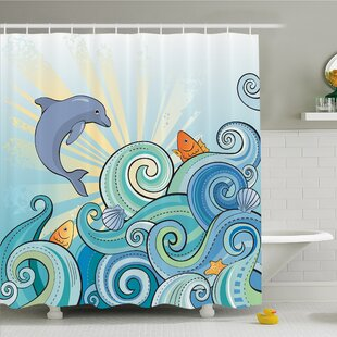 Sea Animals Cartoon Dolphin Fish Starfish Shells Lights in Ocean Marine in Summer Pattern Shower Curtain Set