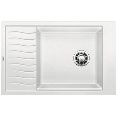 Blanco Precis 30.69 L x 19.69 W Medium Single Kitchen Bowl Sink with Drainer Color: White