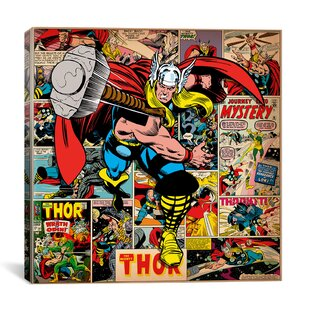 Marvelous Marvel Comics Book Thor Covers And Panels Graphic Art On Wrapped Canvas