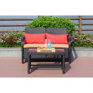 Kieffer 2 Piece Rattan Sofa Seating Group with Cushions by Ebern Designs