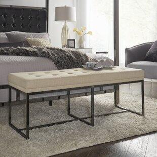 Fadrique Contemporary Solid Tufted Top Metal Bench