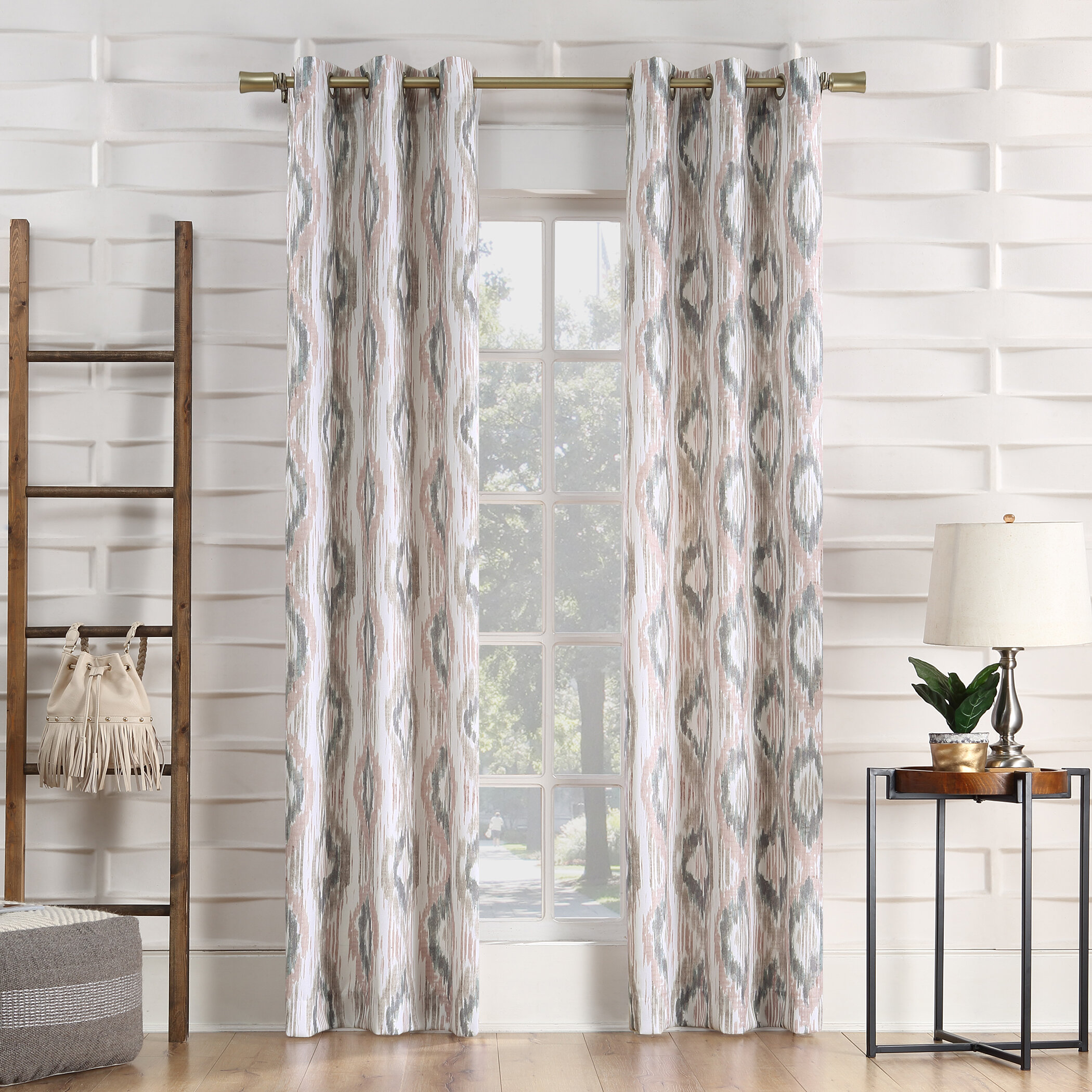 Bungalow Rose Eske Ikat Semi Sheer Grommet Single Curtain Panel Reviews Wayfair