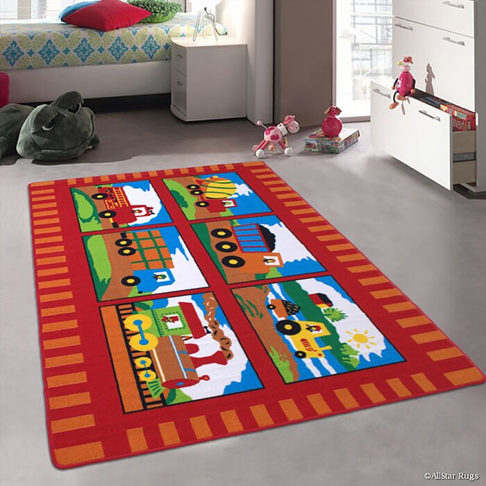 Lenny Trucks And Trains Kids Baby Room Red Area Rug