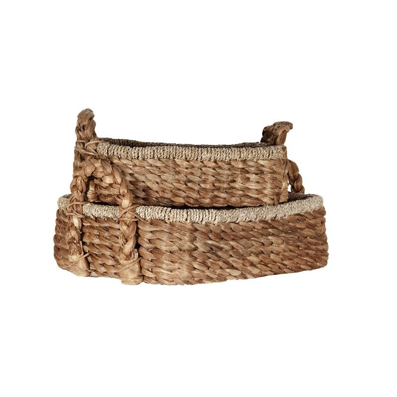 Rectangular Wicker/Rattan 2 Piece Basket Set with Handles
