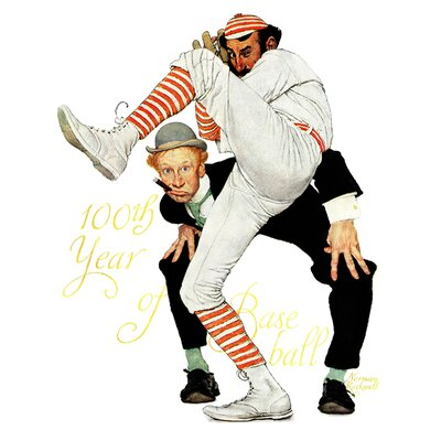 100th Anniversary of Baseball by Norman Rockwell Graphic Art on Wrapped Canvas Marmont Hill Size 36 H x 30 W x 15 D