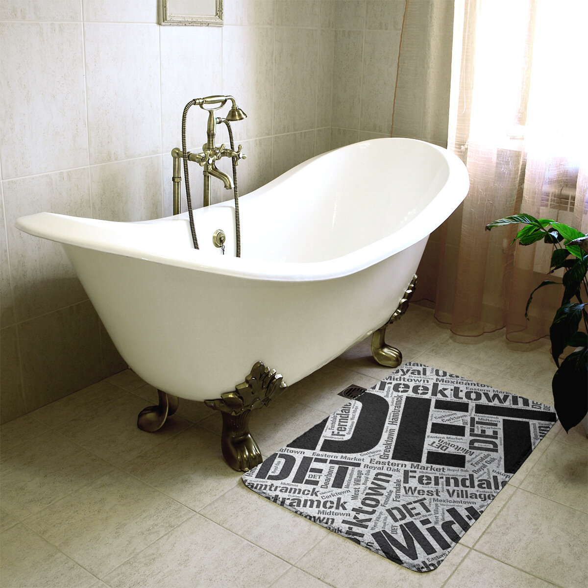 East Urban Home Detroit Michigan Districts Rectangle Memory Foam Non Slip Bath Rug Wayfair