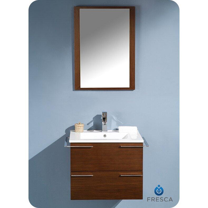 Fresca cielo 24 single modern bathroom vanity set with mirror reviews wayfair - Linden modern bathroom vanity set ...