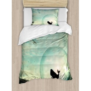 Whale Environmental Image in an Egg near a Oil Tank and Plane Artwork Duvet Set by Ambesonne
