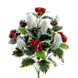 10 Stems Artificial Holly Leaves, Red Berries and Pinecone Snow Floral Arrangement