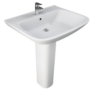 Top Reviews Eden Vitreous China 25.5 Pedestal Bathroom Sink with Overflow By Barclay