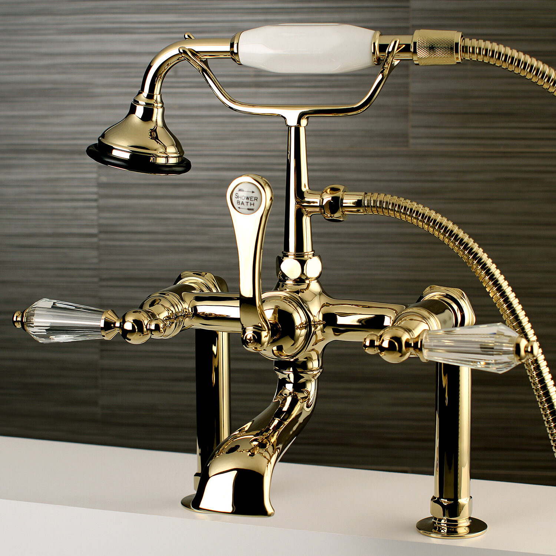 Kingston Brass Wilshire Triple Handle Deck Mount Clawfoot Tub Faucet
