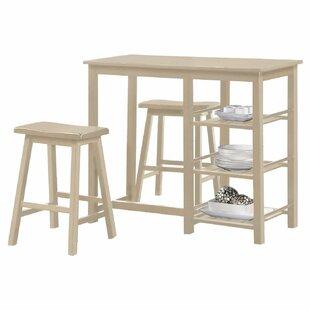 Rockchuck Wood Frame Counter Height 3 Piece Pub Table Set