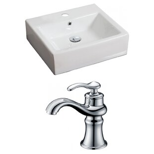 Comparison Ceramic 21 Wall Mount Bathroom Sink with Faucet and Overflow By American Imaginations