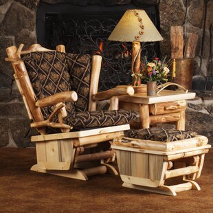 Aspen Heirloom Twig Art Glider and Ottoman