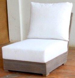 Brayden Studio Constance Teak Outdoor Sectional Armless Chair with Sunbrella Cushions