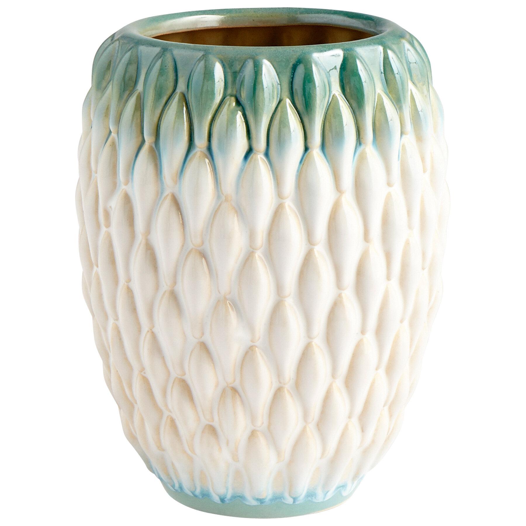Cyan Design Verdant Sea Green White Ceramic Table Vase Wayfair