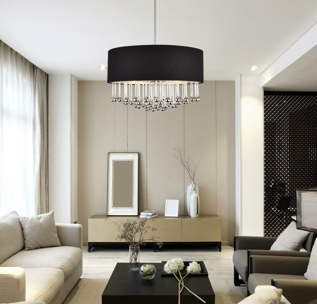 Ephialtes 9 - Light Shaded Drum Chandelier