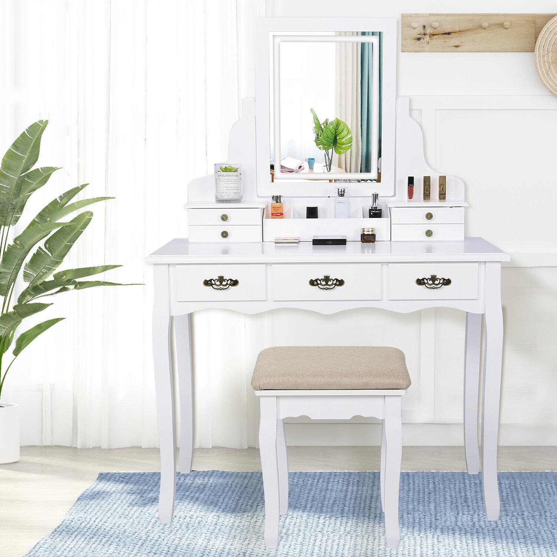 Rosdorf Park Aronson Vanity Set With Stool And Mirror Reviews Wayfair