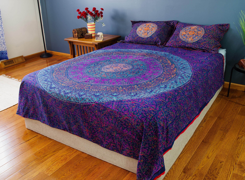 Bed Linens Sets Indian Henna Style Red Purple Cotton Blend Super King Size 4 Piece Bedding Set Home Furniture Diy Tohoku Morinagamilk Co Jp