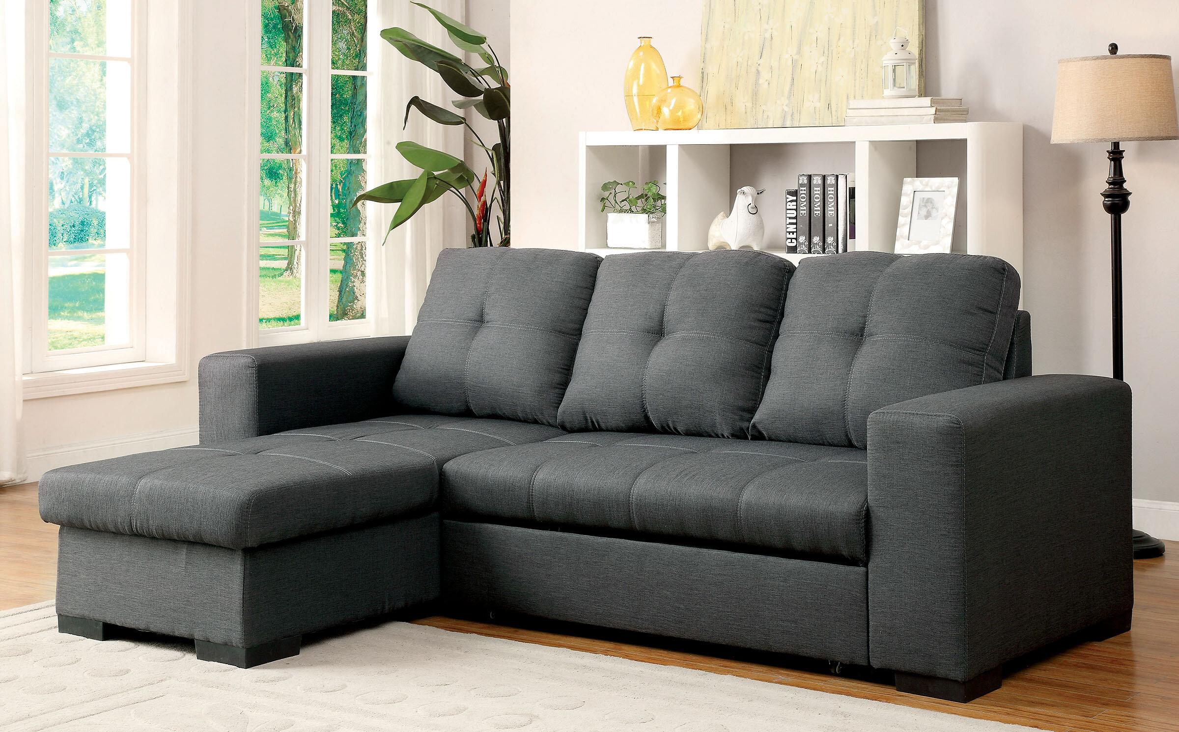 Grovelane Alexandrea 97 Wide Linen Right Hand Facing Sleeper Sofa Chaise Reviews Wayfair