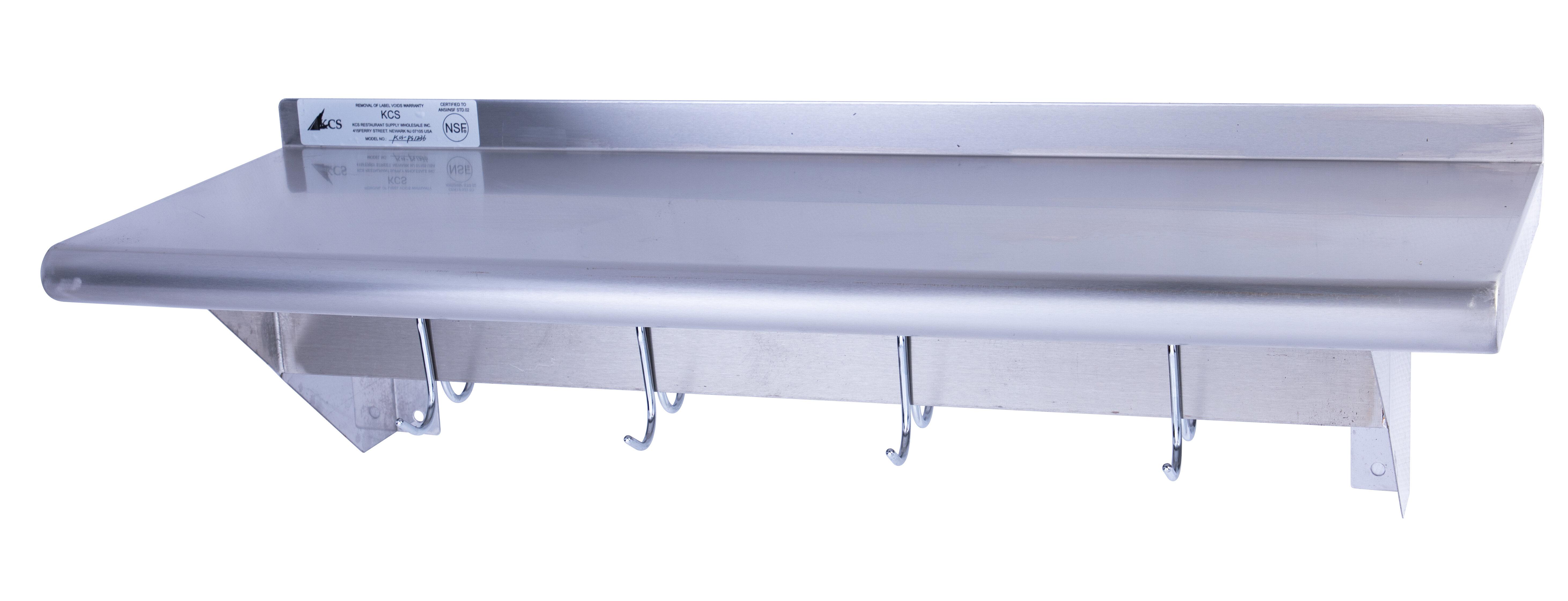 Restaurant Supply Depot Stainless Steel Wall Mount Pot Rack Shelf With 18 Hooks Wayfair
