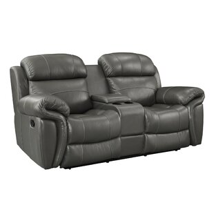 Red Barrel Studio Glausen Leather Power Reclining Loveseat with Console