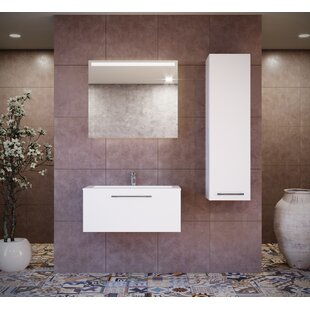 Violet 24 Wall-Mounted Single Bathroom Vanity Set with Mirror by Orren Ellis