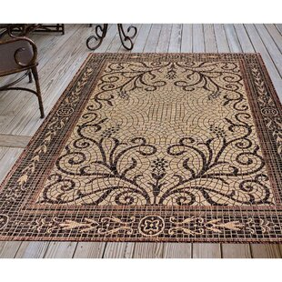Arverne Mosaic Brown Indoor/Outdoor Area Rug