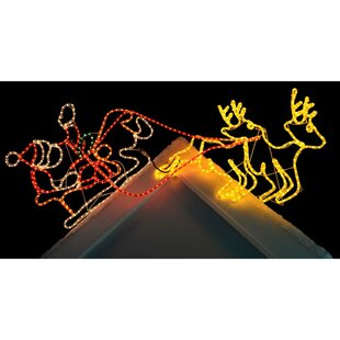 Pre-Lit Santa Sleigh Reindeer LED Rope Oversized Figurine By The Seasonal Aisle