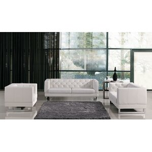 Renee Modern Tufted Eco Leather Living Room Set