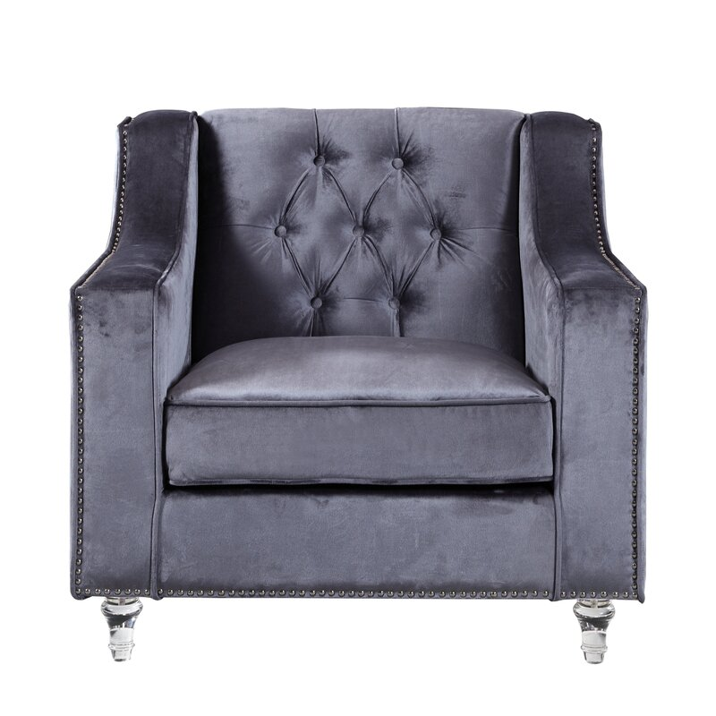 Incroyable Dylan Silver Nailhead Trim Button Tufted Armchair
